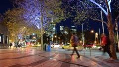 Melbourne street at night Stock Footage