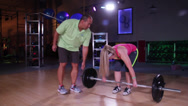 Stock Video Footage of Coach Training Olympic Weight Lifing