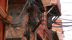 infrastructure shortage, messy electric cables - stock footage