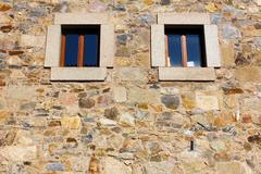 detail of a window at caceres, spain - stock photo
