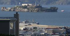 Ultra HD 4K Alcatraz Island San Francisco Bay Former Prison Ruins Tour Boat Trip Stock Footage