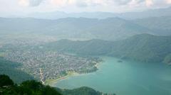 View of Pokhara Lake, Nepal Stock Footage