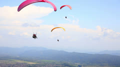 Paragliding over Pokhara, Nepal Stock Footage