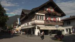 Garmisch-Partenkirchen, a view of the Am Kurpark Street in the summer, Bavaria Stock Footage