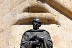 statue at caceres cathedral, caceres, spain - stock photo