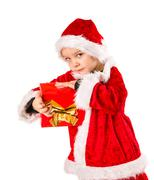 boy and christmas gift - stock photo
