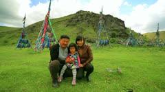 Shaman mongolian family, Ulaanbaatar, Mongolia Stock Footage