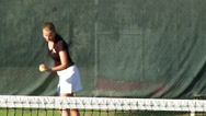 Stock Video Footage of Girl serving tennis ball in slow motion