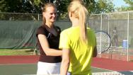 Stock Video Footage of Friendly hug and handshake after tennis match