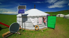 Mongolian ger camps with solar power - stock footage