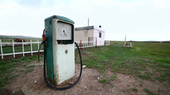 Bizarre gas station pump, mongolia Stock Footage