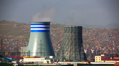 Power station and Ulaanbaatar cityscape Stock Footage