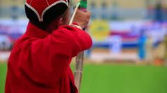 Naadam Festival Archery Tournament Stock Footage