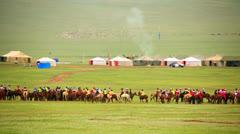 Paddock during Naadam Festival, Mongolia Stock Footage