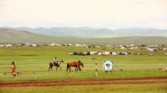 Medieval Horse Archer Shows, Mongolia - stock footage
