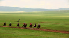 Stallion Horse Race 2013 Finals, Mongolia Stock Footage