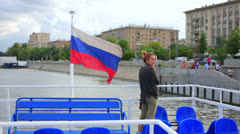 Female tourist on boat trip, moscow Stock Footage