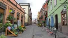 A colorful street in the town Arucas in Gran Canaria spain Stock Footage