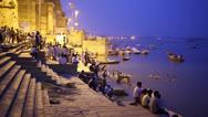 VARANASI, INDIA - MAY 2013: Night scene in Varanasi Stock Footage
