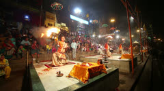 VARANASI, INDIA - MAY 2013: Night praying ceremony, ganges river - stock footage
