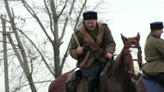 Reconstruction of  military scene period  1943 year  WW2 in Ukraine.  Cossacks o Stock Footage