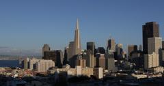 Ultra HD 4K San Francisco Downtown Skyline Financial District Oakland Bay Bridge Stock Footage
