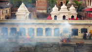 Stock Video Footage of KATHMANDU, NEPAL - JUNE 2013: cremation at pashupatinath temple