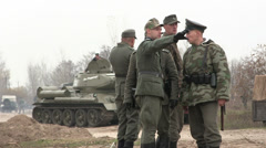Reconstruction of  military scene period  1943 year  WW2 in Ukraine.  The German - stock footage