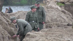 Reconstruction of  military scene period  1943 year  WW2 in Ukraine.   German so Stock Footage