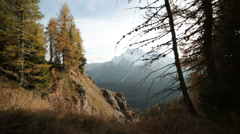 Italian alps in autumn | Dolly shot with left to right panning Stock Footage