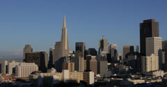 Ultra HD 4K San Francisco Skyline Transamerica Pyramid Famous Office Towers USA Stock Footage