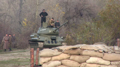 Reconstruction of  military scene period  1943 year  WW2 in Ukraine.   The Sovie - stock footage