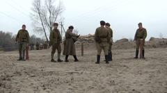 Reconstruction of  military scene period  1943 year  WW2 in Ukraine.   Soviet so - stock footage