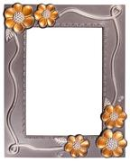 Flower silver and gold frame Stock Photos