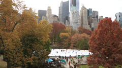 Autumn foliage in New York City manhattan buildings skyline pan Stock Footage