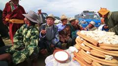 MONGOLIA - JULY 2013: Mongolian people celebrating Naadam Stock Footage
