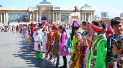 ULAANBAATAR, MONGOLIA - JULY 2013: Naadam Festival Celebration Stock Footage