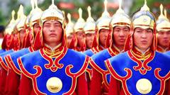 ULAANBAATAR, MONGOLIA - JULY 2013: Mongolian Army at Naadam Festival Stock Footage