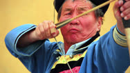 Stock Video Footage of ULAANBAATAR, MONGOLIA - JULY 2013: Naadam Festival Archery Tournament