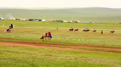 ULAANBAATAR, MONGOLIA - JULY 2013: Mongolian Cavalry at Naadam Festival Stock Footage