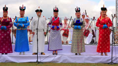 ULAANBAATAR, MONGOLIA - JULY 2013: Mongolian Music Performance Stock Footage