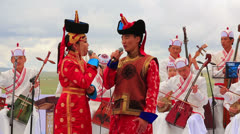 ULAANBAATAR, MONGOLIA - JULY 2013: Mongolian Music Performance Stock Footage