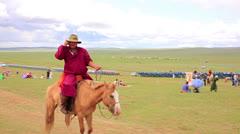 ULAANBAATAR, MONGOLIA - JULY 2013: Mongolian people celebrating Naadam Stock Footage