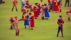 ULAANBAATAR, MONGOLIA - JULY 2013: Wrestling Tournament, Naadam Festival - stock footage