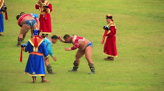 ULAANBAATAR, MONGOLIA - JULY 2013: Wrestling Tournament, Naadam Festival Stock Footage