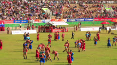 ULAANBAATAR, MONGOLIA - JULY 2013: Wrestling Tournament, Naadam Festival Stock Footage