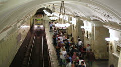MOSCOW, RUSSIA - JUNE 2013: Daily life Moscow metro passengers Stock Footage
