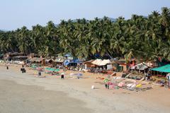 Elevated view idyllic Goa beach - stock photo