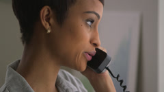 Close up of Black business woman making phone call Stock Footage