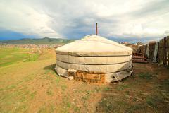Stock Photo of Mongolian Ger at Ulaanbaatar Suburbs